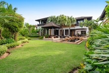 Exterior Design Of Pool Villa Feature Yard Green Garden And Big Tree