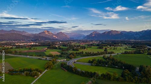 Canvas-taulu Inntaldreieck Inntal Inn Rosenheim Alpen Raubling Bad Aibling Chiemgau