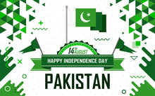Banner For Independence Day Of Pakistan On 14th August. Pakistan National Day Celebration. Pakistani Flag Theme With Abstract Modern Retro Design. Vector Illustration
