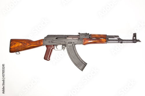 AK-47 with a magazine inserted on white background. Wallpaper Mural