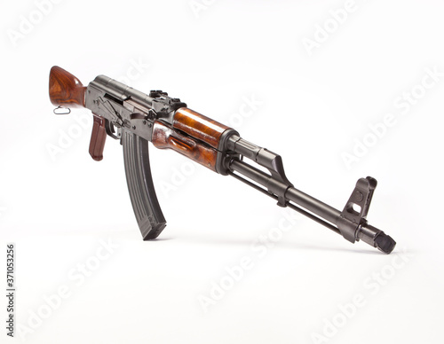 Canvas Print AK-47 with wood accessories and magazine inserted.