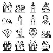 Groom Icons Set Outline Style ...