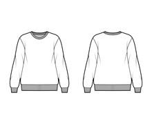 Cotton-terry Oversized Sweatshirt Technical Fashion Illustration With Relaxed Fit, Crew Neckline, Long Sleeves. Flat Outwear Jumper Apparel Template Front, Back, White Color. Women Men, Unisex Top CAD