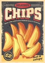 Chips Vintage Poster Image With Black Background Made For Restaurants And Fast Food Stores. Sign With Big Chips And Text On The Top Of The Picture. Vector Illustration In Retro Style.