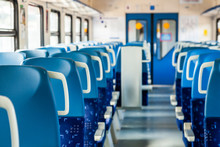 Moscow, Russia, August 11, 2020. Interior Of The Carriage Of A Modern High-speed Regional Train