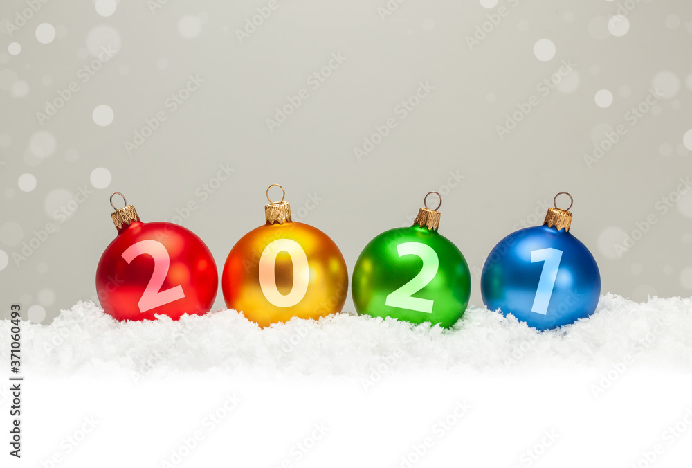 Fototapeta Christmas balls 2021. New Year