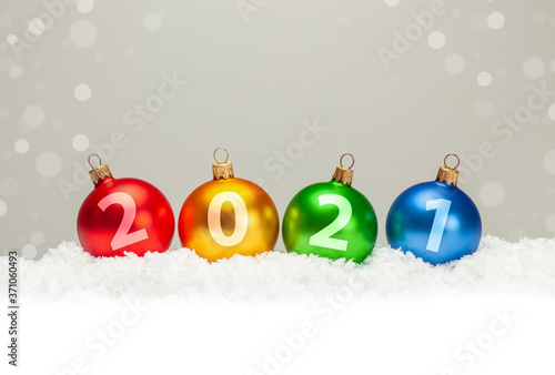 Fototapeta Christmas balls 2021. New Year obraz