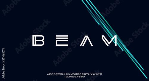 Fotografia Beam, an Abstract modern minimalist geometric futuristic alphabet font