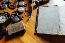 Blank Open Book, Sentimental Vintage Background