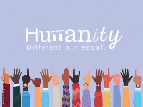 Fototapeta humanity different but equal and diversity hands up design, people multiethnic race and community theme Vector illustration obraz