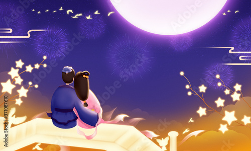 Canvas Print On Chinese Qixi Festival, the Cowherd and the Weaver Girl snuggle up to admire the moon
