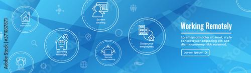 Obraz na plátně Remote work icon set with web header banner