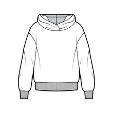 Oversized Cotton-fleece Hoodie Technical Fashion Illustration With Relaxed Fit, Long Sleeves. Flat Outwear Jumper Apparel Template Front, White Color. Women, Men, Unisex Sweatshirt Top CAD Mockup
