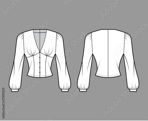 Blouse technical fashion illustration with long bishop sleeves, plunging V-neckline, puffed shoulders, slim fit Fototapeta