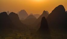 Landscape Of Mountain Ranges In Yangshuo County, Guilin City, South China's Guangxi Zhuang Autonomous Region