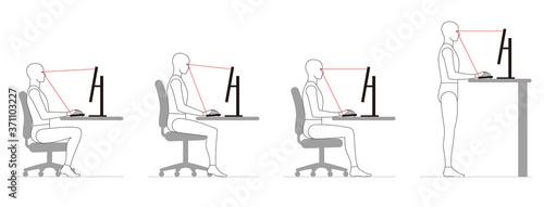 Foto パソコンでデスクワークする人間の姿勢。 椅子の高さ
