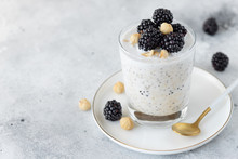 Overnight Oats With Coconut Milk, Chia Seeds, Hazelnuts And Blackberries In A Glass On A Gray Background. Healthy Vegan Breakfast. Close-up. Copy Space.