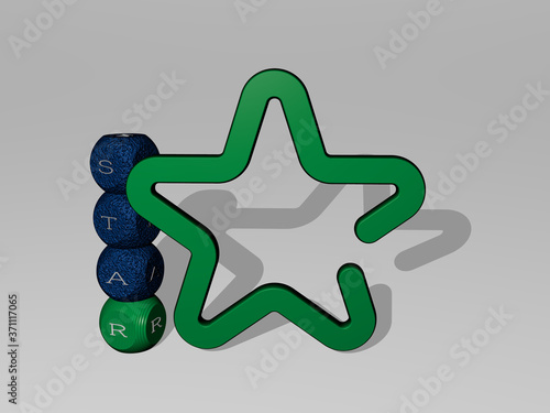 Photo star 3D icon and dice letter text - 3D illustration for background and abstract