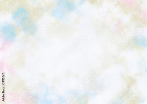 Fototapeta 幻想的な水彩と金箔の雲模様 フレーム素材05