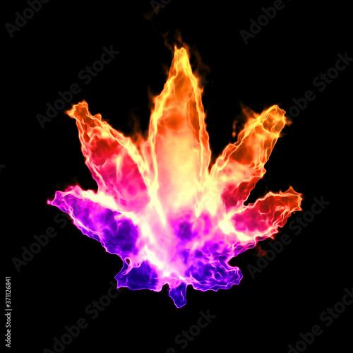 Photo Rainbow fire hemp leaf