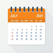 July 2021 Calendar Leaf. Calendar 2021 In Flat Style. Vector Illustration.