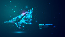 Paper Airplane. Glowing Low Po...