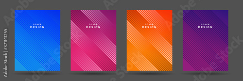 Fototapeta Abstract pattern texture book brochure poster cover gradient template vector set. Modern abstract covers set, minimal covers design. Colorful geometric background, vector illustration. obraz