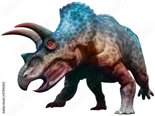 Papel de parede Triceratops dinosaur charging 3D illustration