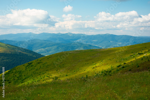 Fototapety, obrazy: summer landscape of runa mountain. grassy hills of alpine meadow (polonyna). beautiful destination of ukrainian carpathians. clouds on the sky