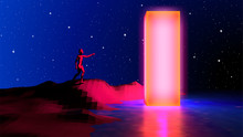 80s Styled Landscape With Human Reaching Out To Touch Mysterious Neon Shiny Obelisk. Sci-fi Abstract Background With Esotheric Theme In Blue And Purple Synthwave Or Retrowave Colors