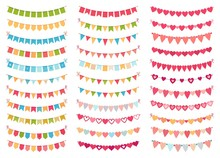 Bunting Flags Collection For Decoration Party, Celebration Birthday Or Festival, Carnival Event Hanging Banner. Vector Illustration