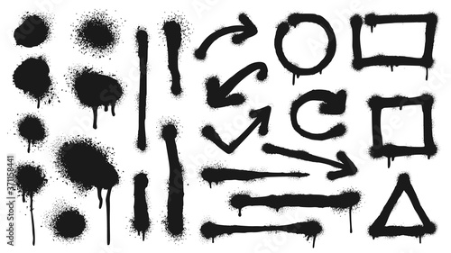 Graffiti spray lines, grunge dots, arrows and frames. Vector graffiti dot dirty, grunge ink black, splash stain and drip illustration