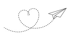 Paper Plane With Heart Path. Flying Airplane With Dotted Air Route In Heart, Romantic Or Message Valentine Day Card Vector Design. Love Plane Flight, Airplane Transport, Airline Travel Illustration