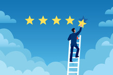 Customer Rating. Businessman Stands On Ladder And Gives 5 Star, Customer Feedback. Positive Review Evaluation System Vector Concept. Businessman Success Review, Rating Service Customer Illustration