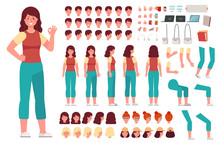Cartoon Female Character Kit. ...