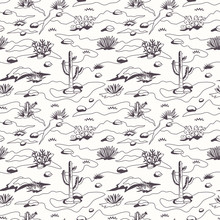 Western Cartoon Dessert Landscape Seamless Pattern With Cactuses, Herbs, Sand Dunes And Stones. Detailed Colored Page Background. Black   White