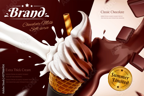 Foto Chocolate soft serve ice cream ads