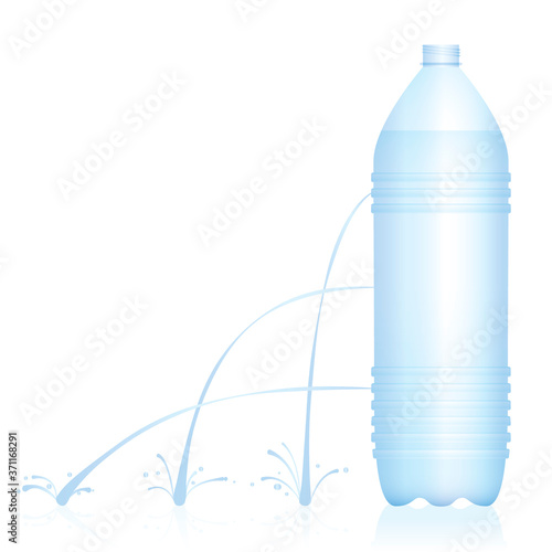 Photo Plastic bottle with different water jets - weak, medium and strong stream