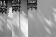 Abstract Shadow On White Wall Of The Temple Thailand