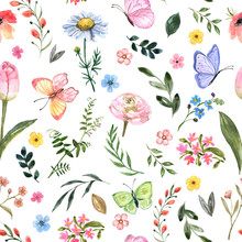Cute Floral Seamless Pattern. Watercolor Botanical Print, Blooming Summer Meadow Illustration With Butterflies On White Background. Pastel Color Palette. Great For Nursery Design, Textile