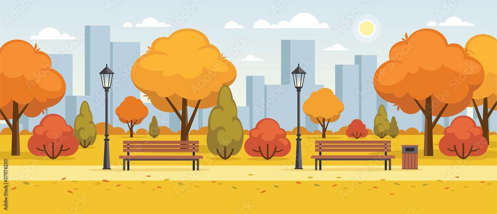 Fototapeta Autumn street, city park panoramic illustration.