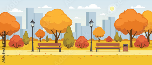 Photographie Autumn street, city park panoramic illustration.