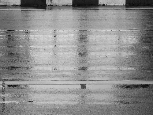 texture of wet asphalt road after rain Canvas Print