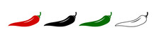Set Of Spicy Chili Hot Pepper Icons. Hot Natural Chili Pepper Symbol , Pepper Chili . Vector Illustration