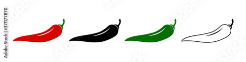 Slika na platnu Set of spicy chili hot pepper icons