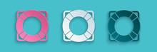 Paper Cut Lifebuoy Icon Isolat...