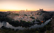 Panorama view from Toledo, capital from spanish region of La Mancha with the famous Alcazar and cathedral.
