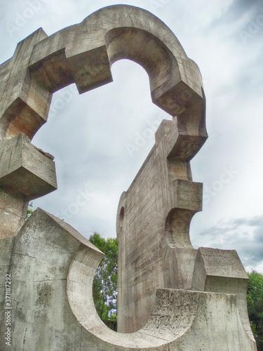 Photo Magical Sculptures Garden in Gernika Town Basque Country Spain