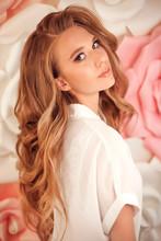 Beauty Makeup. Red Hair Girl M...