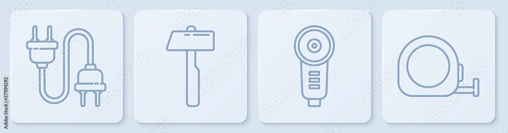 Fototapeta Set line Electric plug, Angle grinder, Hammer and Roulette construction. White square button. Vector.